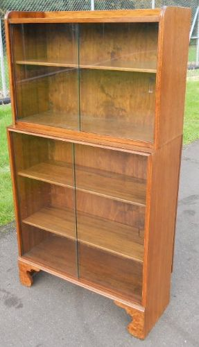 Walnut 1960's Standing Glazed Bookcase Cabinet